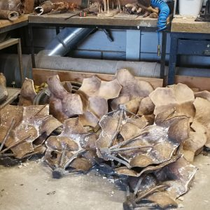 A nice pile of castings by artist Lawrence Dicks ready for fettling and reconstruction