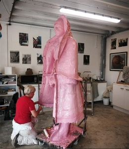 Lisa moulding a new large commission by artist Vivien Mallock