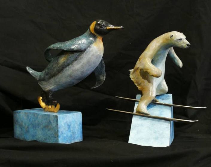 Bryn Parry 'Skiing bear and skating Penguin'