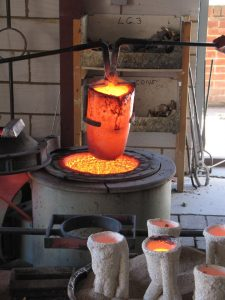 Returning the crucible to the furnace for the next pour