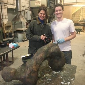 Talos team member Simon with artist Nicola Godden and her newly commissioned piece 'Flint Form Torso'. Many thanks to owner Melvin for his picture.