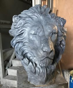 The finished Lion by artist Geoffrey Lignon, after a second casting and grey patination