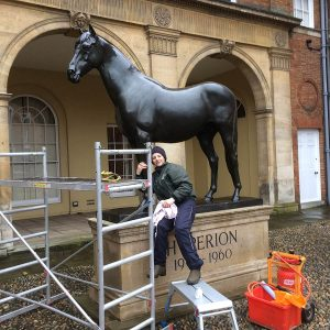 Jockey Club, Newmarket - Hyperion having a clean and polish ready for the Craven meeting next week