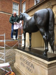John Skeaping's 'Hyperion' getting a Talos makeover ready for the Craven meeting at Newmarket