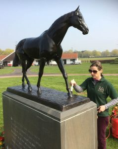 John Skeaping's Mill Reef getting a Talos makeover at the National Stud, Newmarket