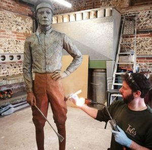 Lester being patinated by Pat