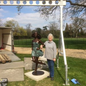 Vivi with her Irish Dancer installed in the garden of private clients