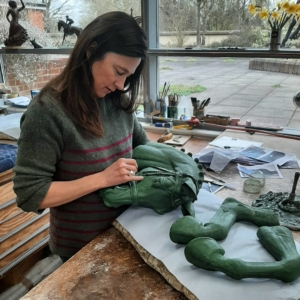 Georgie WelchGeorgie Welch working on the wax of Valegro, at Talos Art Foundry